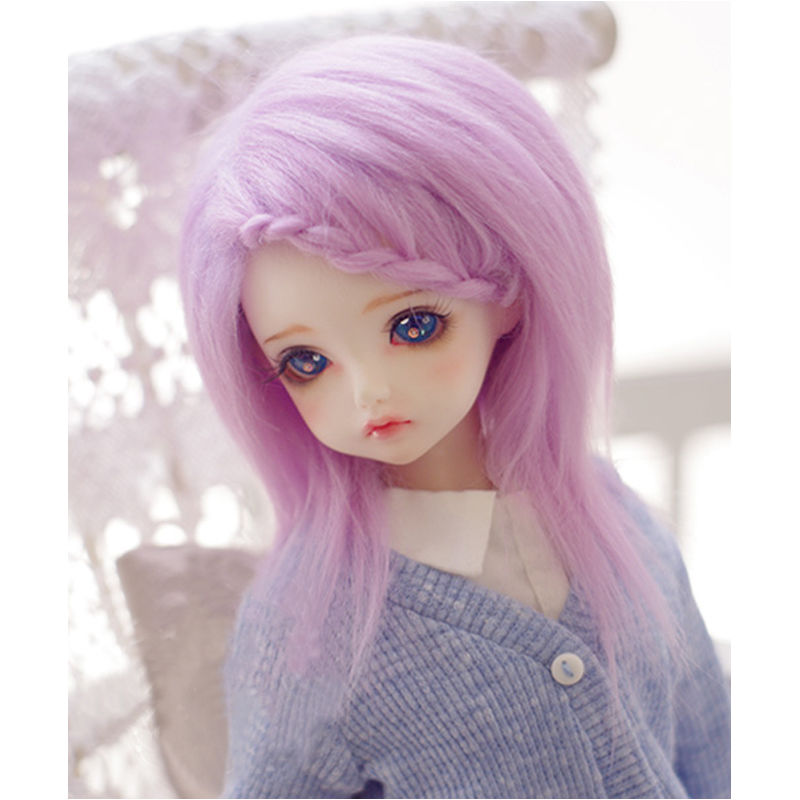 Lilac/Purple Long Wool Wig/Hair 1/8 PUKIFEE AE LATI BJD Dollfie 14cm long wavy hand tied lace front synthetic hair grape purple cosplay party wig