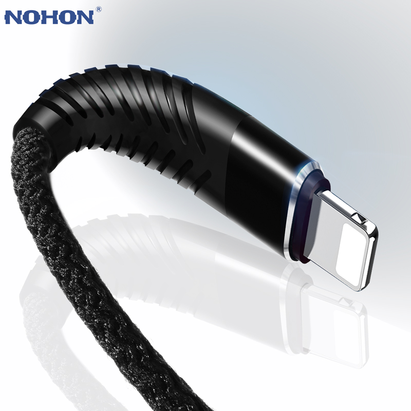 NOHON <font><b>3M</b></font> 2M 1M High Tensile 8pin USB Fast Charging <font><b>Cable</b></font> For <font><b>iPhone</b></font> 8 X 7 <font><b>6</b></font> 6S Plus 5 5S 5C SE iOS 10 9 8 iPad Data Sync Wire image