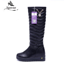 SGESVIER  Women Boots Winter Warm Low Heel Knee High Boots Russia Snow Boots Crystal Fashion Long Boots for Ladies Plush OX126