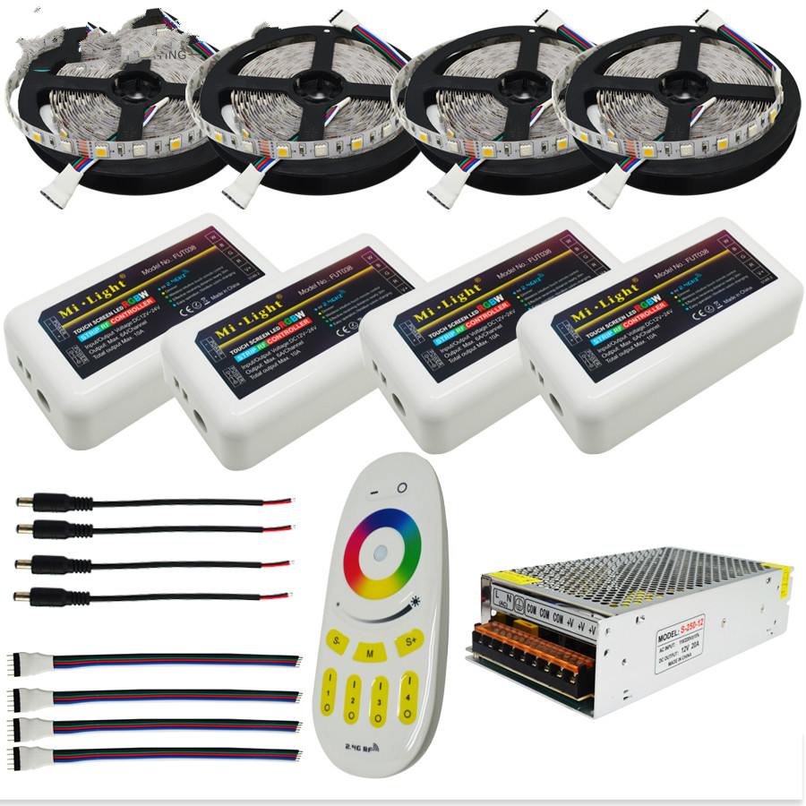 10M 15M 20M RGBW RGBWW Led Strip Light DC12V Waterproof 5050 SMD + mi-light Led Controller + Power adapter Kit 20m rgbw rgbww led strip light 5050 dc