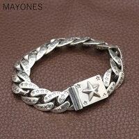 15 мм ширина Настоящее серебро 925 проба Lucky Star браслет для мужчин женщин Винтаж Панк Рок звено цепи и браслеты Тайский серебряные ювелирные из