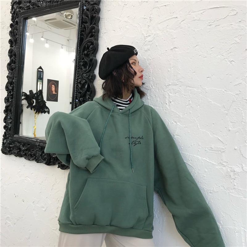 HTB1OfsrMwHqK1RjSZJnq6zNLpXat Hoodies Women Thicker Plus Velvet Warm Soft Letter Printed Simple All-match Pockets Leisure Pullovers Womens Trendy Sweatshirts