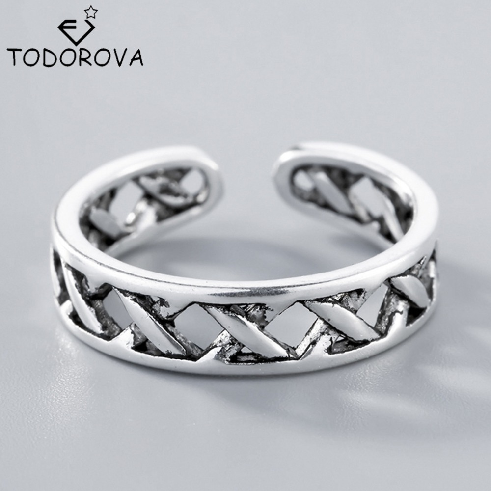 Todorova New 925 Sterling Silver Rings for Women Cross X Shape Exquisite Finger Round Adjustable Ring Party Jewelry Bijoux