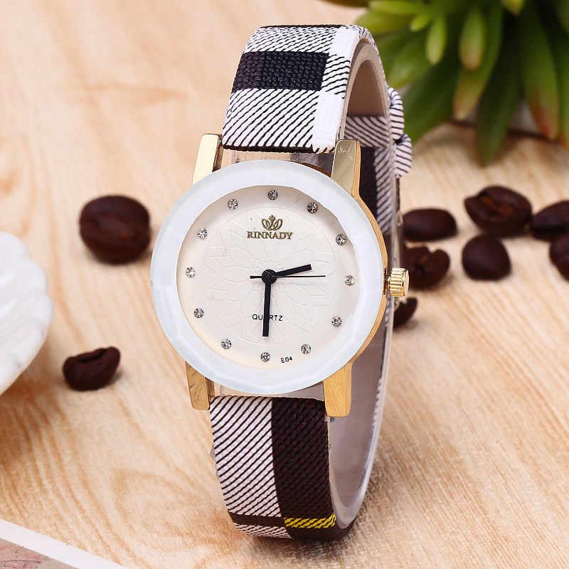 Британский стиль Женские часы повседневные кварцевые часы женские наручные часы плед полоса ремешок для женщин часы reloj mujer