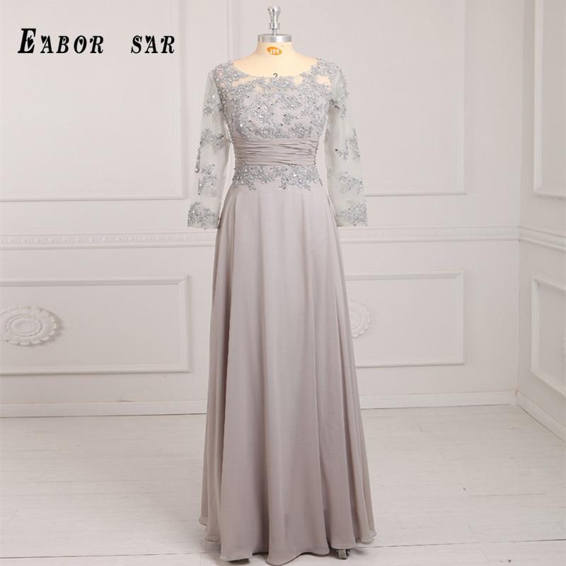 2017 fine lace a word line high collar full sleeve dress chiffon wedding evening dress