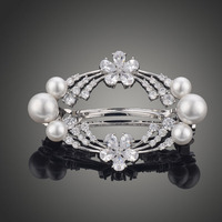 Trendy Fashion Flower Hairpin Accessories Jewelry AAA Cubic Zircon With Imitation Pearls Hair Clip For Bridesmaid