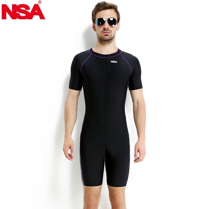 NSA swimwear arena men swimsuit piece plus size swimming suit competitive swim suits boy's racing swimsuits short sleeve(China)