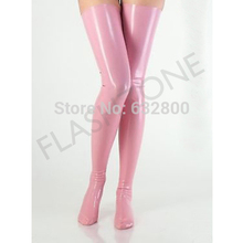 Free shipping ~ Latex stockings pink rubber fashions