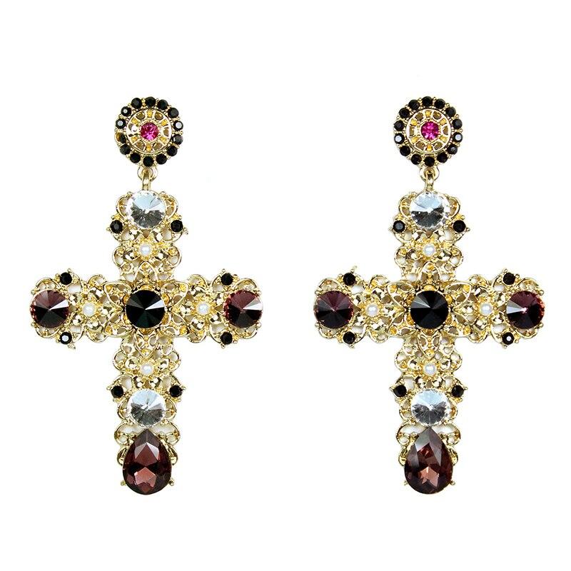 Пар девочки Baroque Королевский Ретро Европейский Женщины Ювелирные изделия Показать Основные костюм женский полудрагоценных камней Иисус золотой крест Серьги