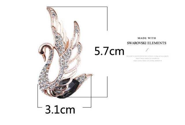 Rhinestone Swan Brooches For Women