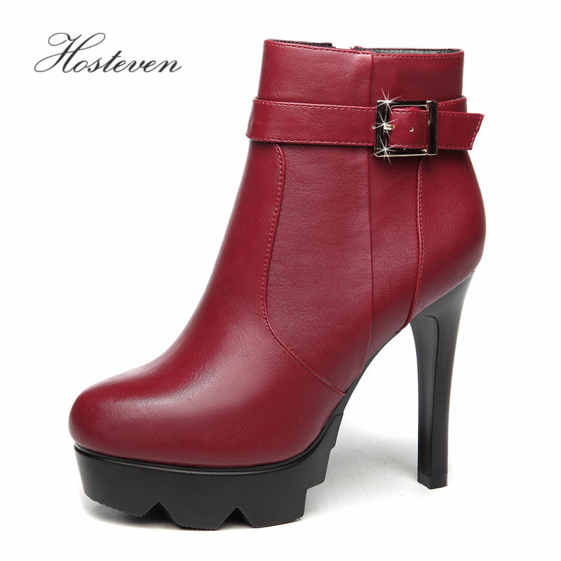 Hosteven Women Boots Pumps Winter Plush Office Lady Classics Sexy High Heels 9cm Shoes Black Wine Red Wedding Party Court Shoes
