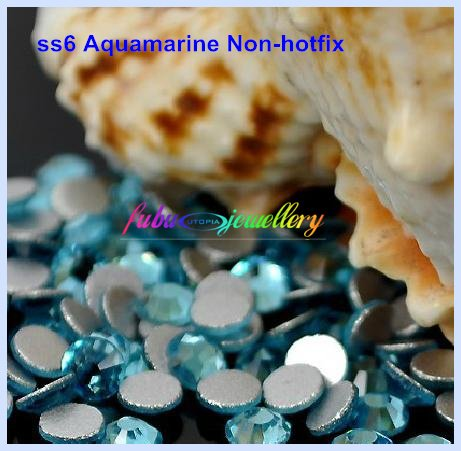Free Shipping! 1440pcs/Lot, ss6 (1.9-2.1mm) Aquamarine Flat Back Non Hotfix Nail Art Crystals