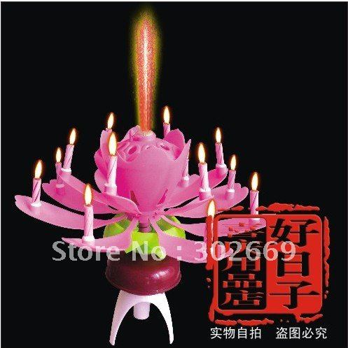 Lotus Birthday Candles Double Deck Rotating Sparkling Music Flower Fourteen 40pcs