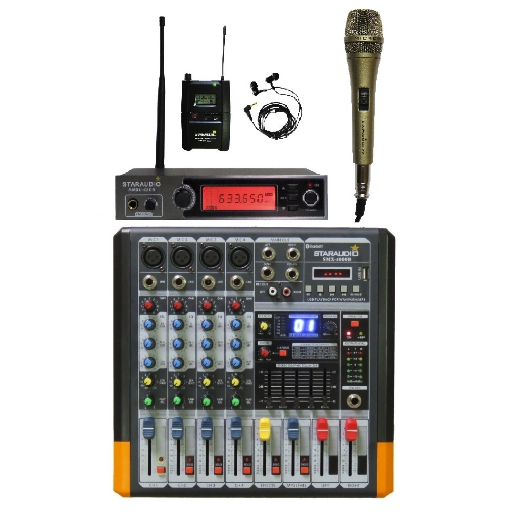 STARAUDIO Pro 4 Channel Powered Mixing Console DJ Audio Amplifier Mixer W/ UHF Stereo In-Ear Monitor Mic 1 Wired Mic staraudio pro 4 channel 2000w live studio dj stage amplifier powered mixer with mp3 bluetooth usb sd 16 dsp smx 4000b