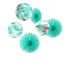 6pcs Mint Green Tropical Party Decoration Set Tissue Paper Fans Flamingo Palm Leaves Pleated Lanterns Wedding Hawaiian