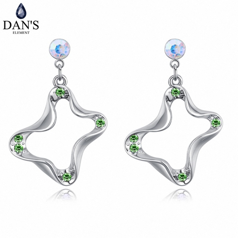 DANS 5 Colors Real Austrian crystals Stud earrings for women Earrings s New Sale Hot Round 129014
