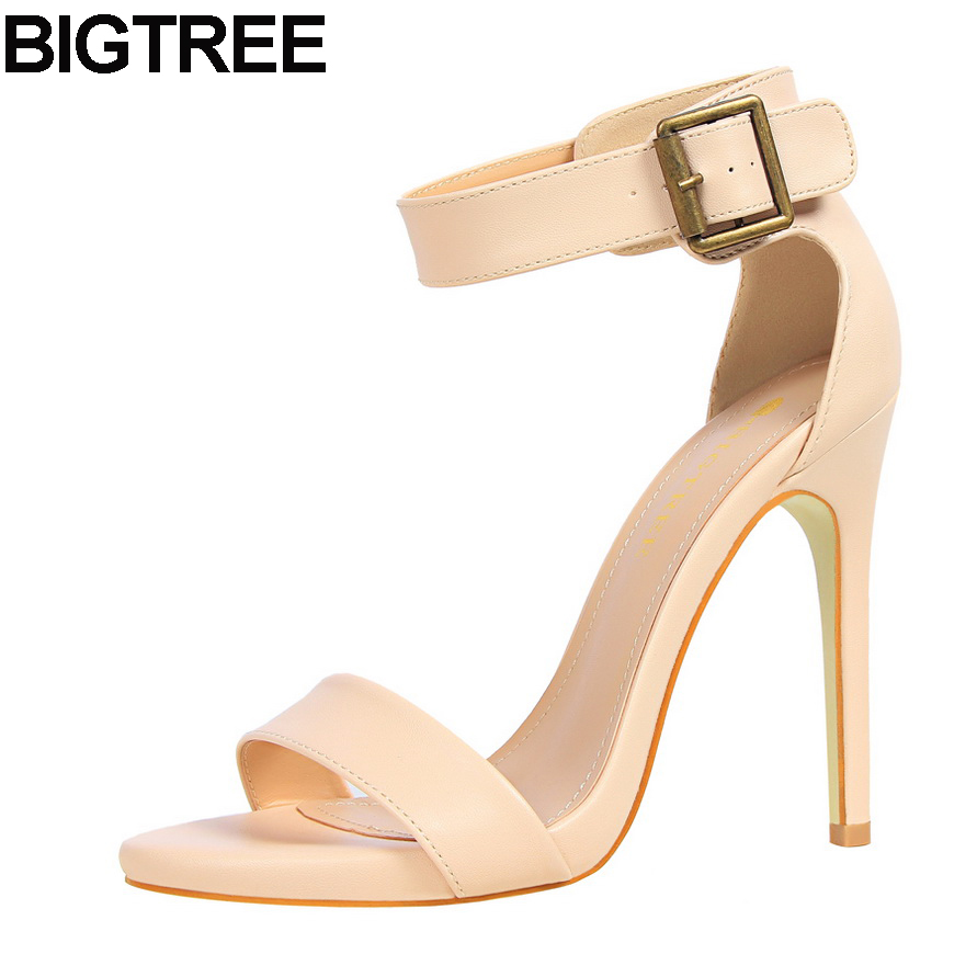 BIGTREE Women wedding Summer Sandals Faux Leather Buckle Strap Open Toe High Heel Pumps Woman Stilettos Classic Fashion Shoes xiaying smile new summer woman sandals shoes women pumps platform fashion casual square heel buckle strap open toe women shoes