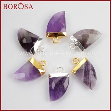 BOROSA Clearance Sale 10pcs Silver Color Pure Natural Amethysts Purple Crystal Druzy Horn Charm Drusy Pendant for Jewelry S1373(China)