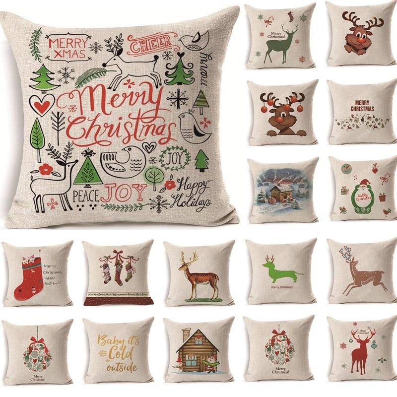1Pcs 43*43cm Christmas Deer Pattern Cotton Linen Throw Pillow Cushion Cover Car Home Sofa Decorative Pillowcase 40478