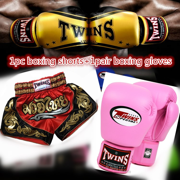 1 Pair Boxing Gloves+1 pc Muay Thai Shorts For Adult Women Boxing Pants Men's Sport Clothes Boxeo Free Combat Pants Golden Flame wesing boxing kick pad focus target pad muay thia boxing gloves bandwraps bandage training equipment