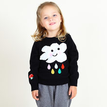 2018 autumn winter long sleeved round neck cloud raindrops knitting novelty pullover sweaters girl boy children's clothing(China)
