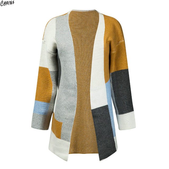 dd4b87b227 Polychrome Contrast Color Block Longline Cardigan Women Pockets Side Long  Sleeve Autumn Winter Warm Thick Open Front Sweater