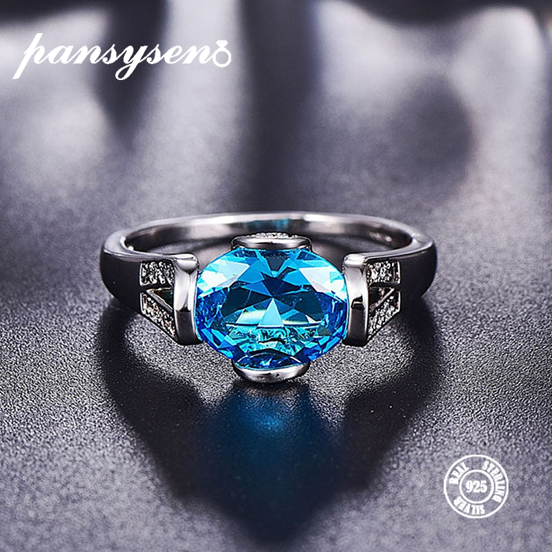 PANSYSEN Real S925 Sterling Silver Rings For Women Blue Topaz Ring Gemstone Aquamarine Cushion Romantic Gift Engagement Jewelry