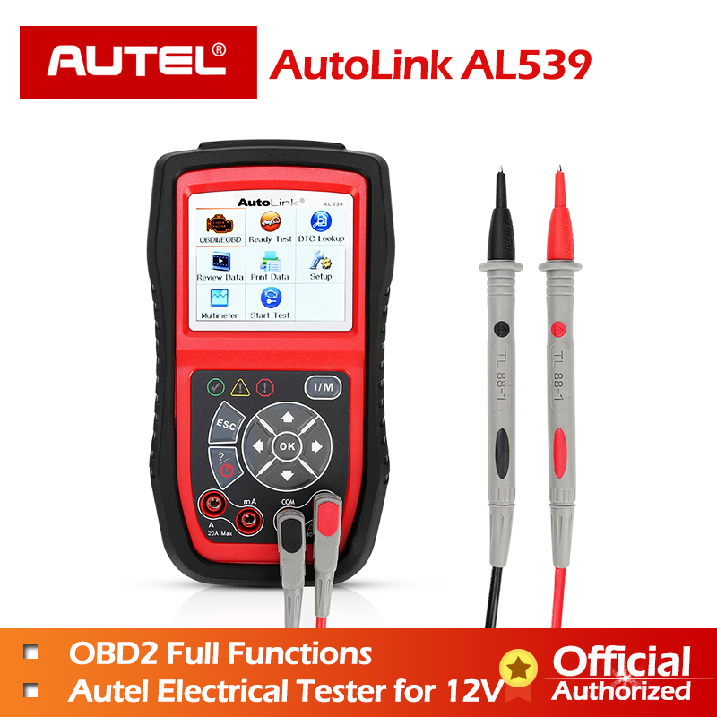 Autel AL539 OBDII Code Reader OBD Car Scanner Electrical Tester AL 539 12V Autel AL539B AVO Meter Battery Tester Diagnostic ToolAutel AL539 OBDII Code Reader OBD Car Scanner Electrical Tester AL 539 12V Autel AL539B AVO Meter Battery Tester Diagnostic Tool