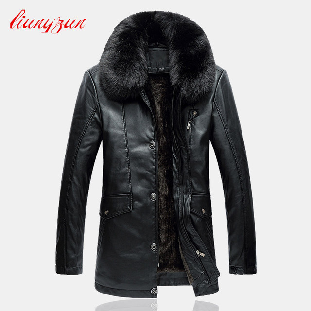 Men PU Leather Fleece Jackets Coats Brand Winter Male Slim Fit Big Size L-4XL Slim Fit  Motorcycle Trench Coats Clothes SL-K181
