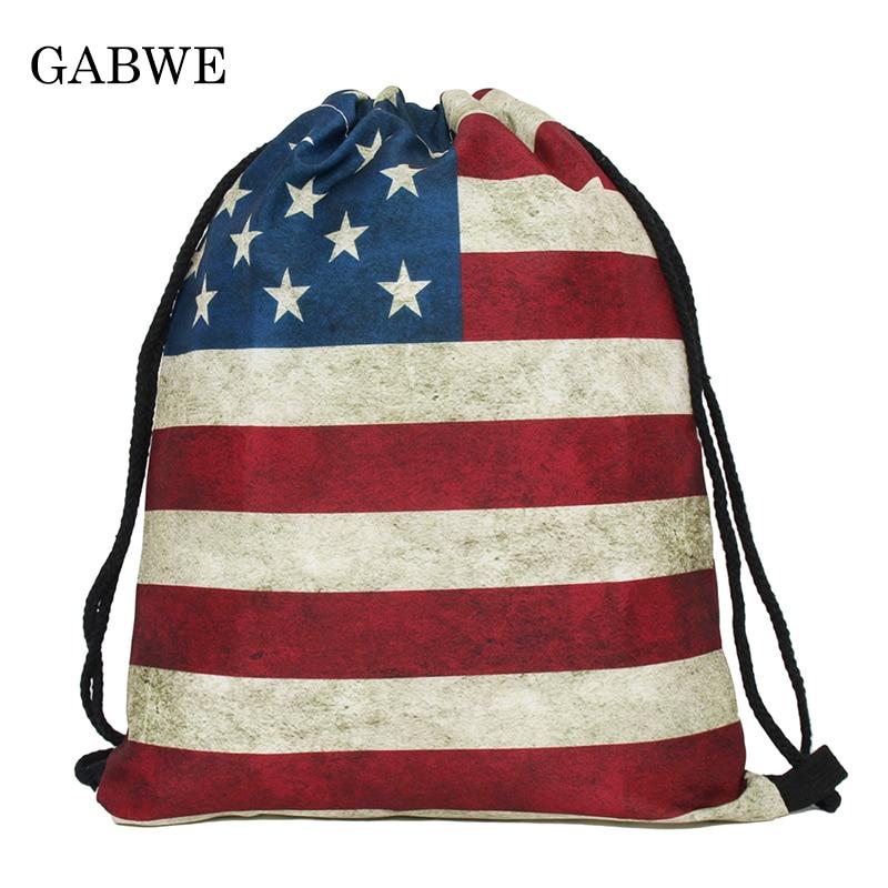 GABWE 3D Print String Bag In Drawstring Bag For Women Backpack Drawstring Gift Pouch
