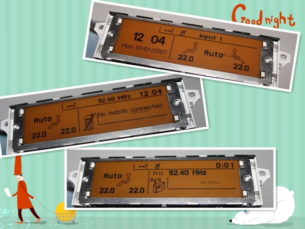 screen support USB Dual zone air Bluetooth Display yellow monitor 12 pin for Peugeot 307 407