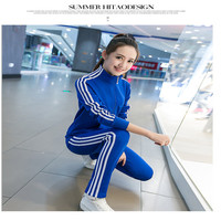 2018 New Tracksuit Women 2 Piece Set Fashion New Hooded Sweatshirt Crop Top Side Striped Sportwear Sweatpants Track Suits