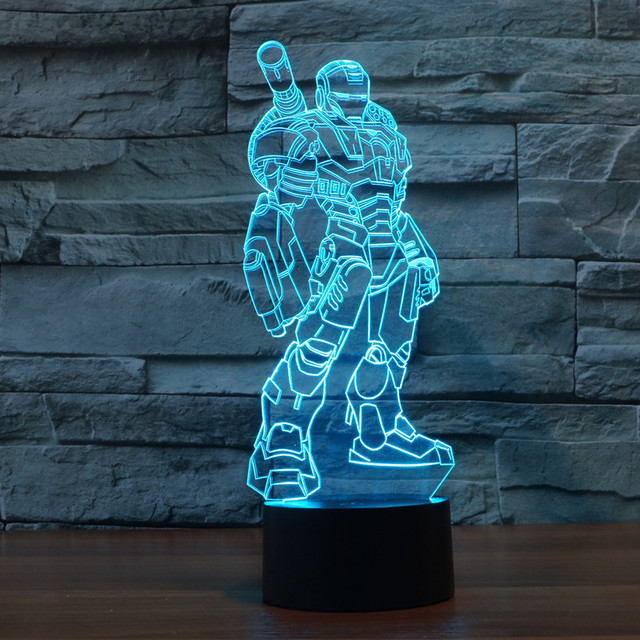 Creative Iron Man 3D Illusion LED Lights Super Hero Acrylic Led Mood Table Lamp Flash Toy Colorful Gradient Kids Gift IY803334