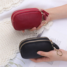 Lizilian 2019 new soft cowhide purse women's double zipper purse cute simple clutch bag key bag(China)