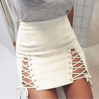 Titotato Real New Empire Pencil Skirt Suede Straps Sexy Package Hip Saia Harajuku Faldas Mujer Moda 2018 Lace up Skirts Womens