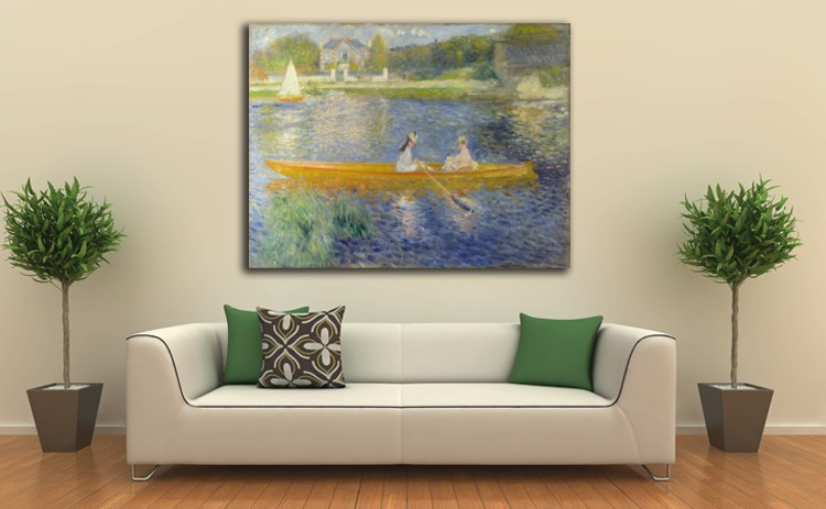 Boating on The Seine Famous Oil Painting by Renoir Art Frameless Night Landscape Canvas Painting Home Decoration in Painting Calligraphy from Home Garden