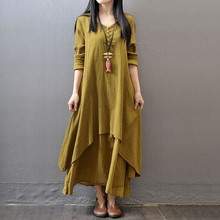 2019 Plus Size HANIBABA Women Dress Two-pieces Robe Solid Casual Vintage Long Sleeve Linen Loose Party Long-Shirt Vestidos