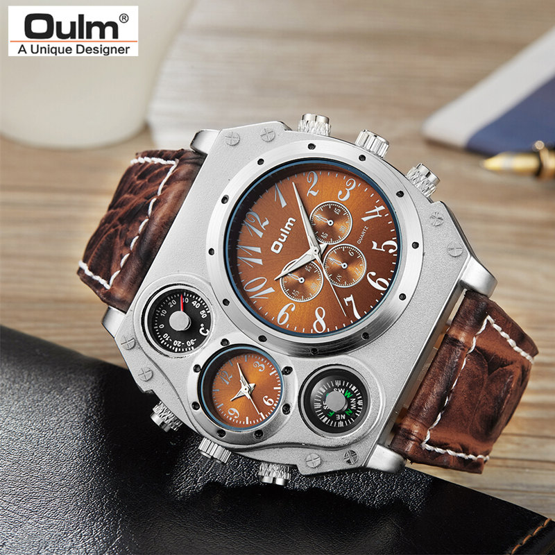 Bild von New Model OULM Watch Men Quartz Sports Leather Strap Watches Fashion Male Military Wristwatch Fashion Clock Masculino Relojes