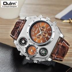 New Model OULM Watch Men Quartz Sports Leather Strap Watches Fashion Male Military Wristwatch Fashion Clock Masculino Relojes