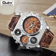 Новая модель OULM часы Мужские кварцевые спортивные кожаный ремешок часы модные мужские военные наручные часы модные часы Masculino Relojes