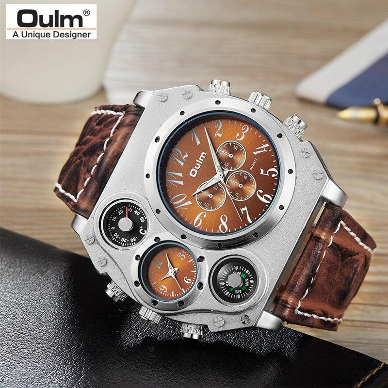 Nuevo modelo OULM reloj hombre cuarzo deportes cuero Correa Relojes Moda hombre militar reloj de pulsera reloj de moda Masculino Relojes