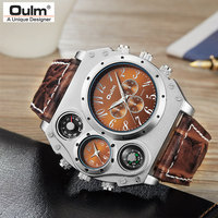 New Model OULM Watch Men Quartz Sports Leather Strap Watches Fashion Male Military Wristwatch Relojioes Clock