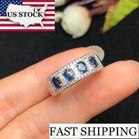 US STOCK Uloveido Sri Lanka Sapphire Engagement Rings, 925 Sterling Silver, Lady's 3*4mm*4 pcs Gemstone Wedding Jewelry FJ215