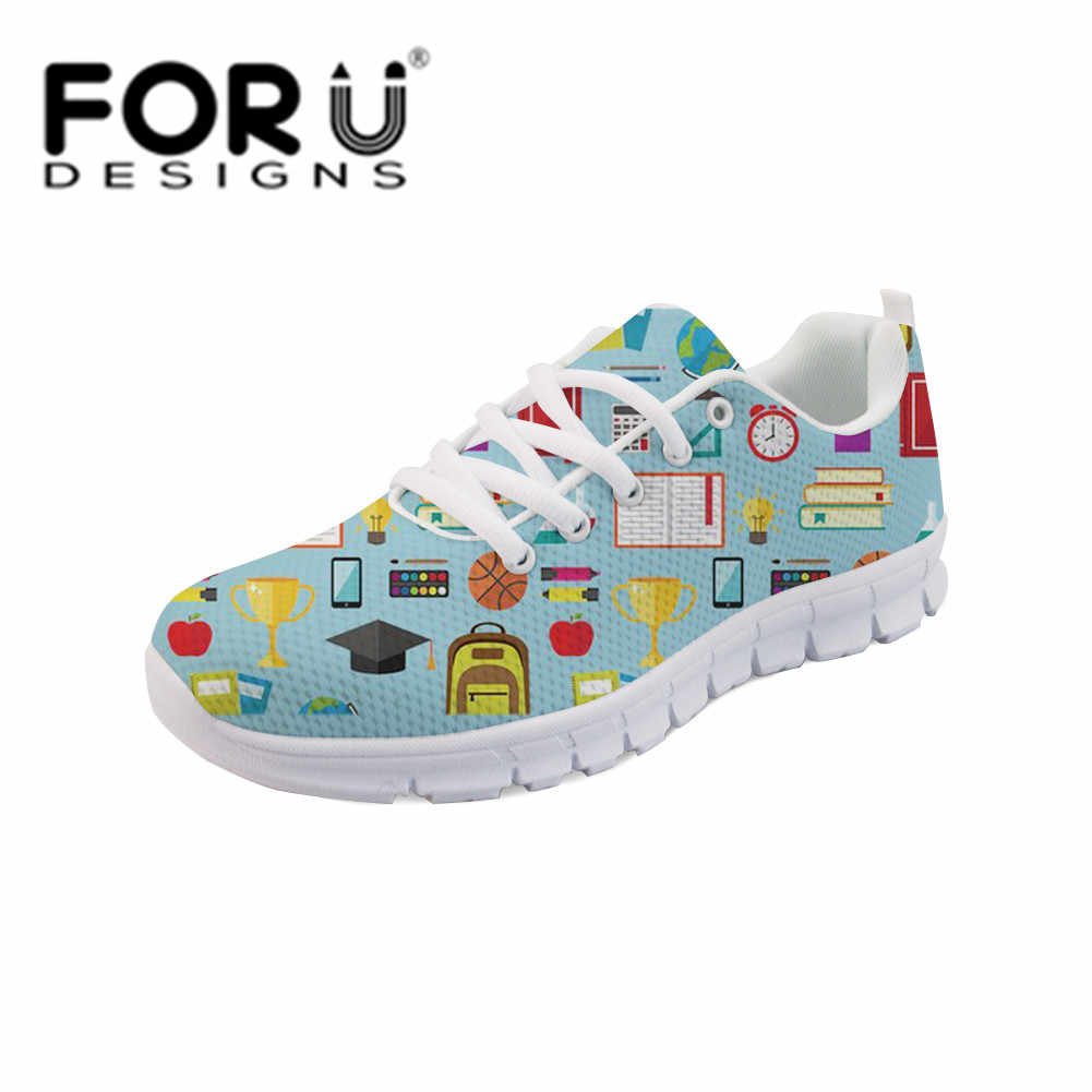 FORUDESIGNS Women Casual Sneakers Women Fashion Teacher Food Pattern Female Flats Lace-up Shoes Comfortable Flats Dropshipping