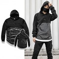 Streetwear Men Patchwork Design PU Leather Hoodies New 2017 Mens Kangaroo Pocket Hiphop Hoodie Hooded Sweatshirts Free Shipping