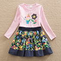 New girl summer dress embroidered long-sleeved butterfly flower sweet cotton baby clothes round collar a-line dress LH6241