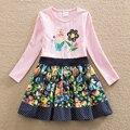Nova garota verão vestido bordado longo-borboleta flor doce roupas de bebê de algodão de mangas compridas gola redonda a linha vestido LH6241