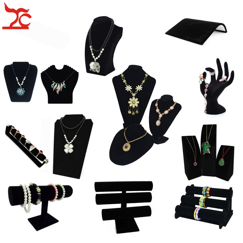 Black Velvet Series Jewelry Organizer Holder Wooden Jewelry Display Ring Necklace Bangle Earring Watch T Bar Storage Stand