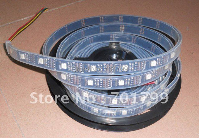 BLACK PCB 5m led digital strip,DC5V input,WS2801IC(256 scale);32pcs IC and 32pcs 5050 SMD RGB per meter;waterproof silicon tube