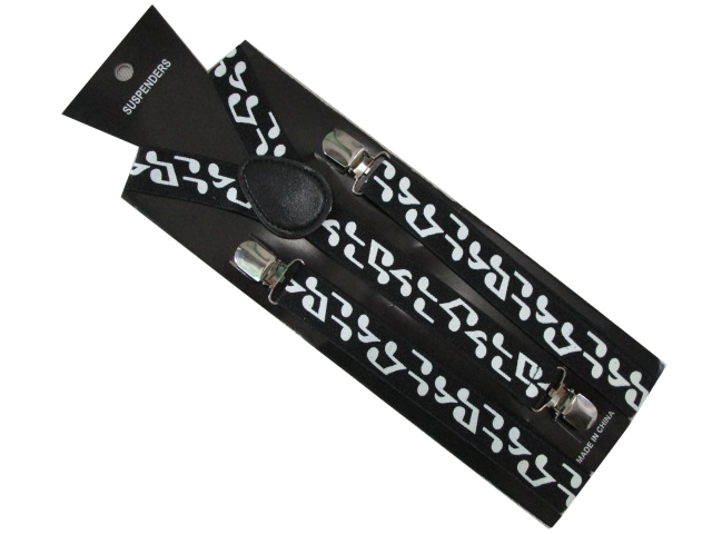 Free Shipping 2019 New Fashion 2.5 Cm Wide Adjustable 3 Clip On Black Music Note Print Elastic Suspenders For Women